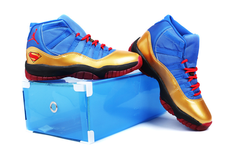 Superman Air Jordan 11 Edition Blue Gold Black Red Shoes