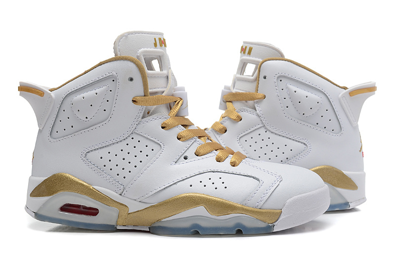 2015 Real White Gold Air Jordan 6 GS Shoes