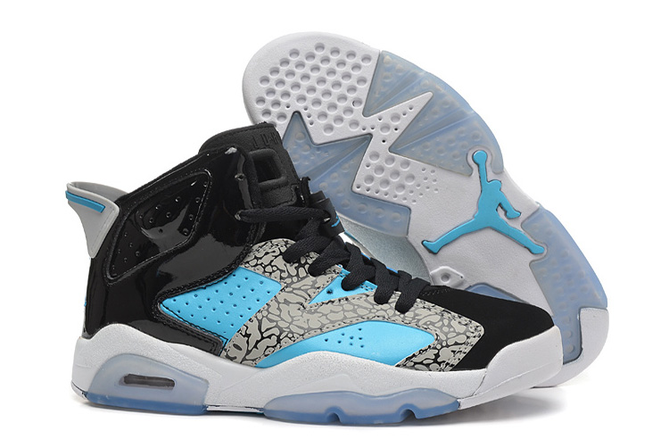 Womens New Air Jordan 6 Girls Retro Leopard Print Black Blue White