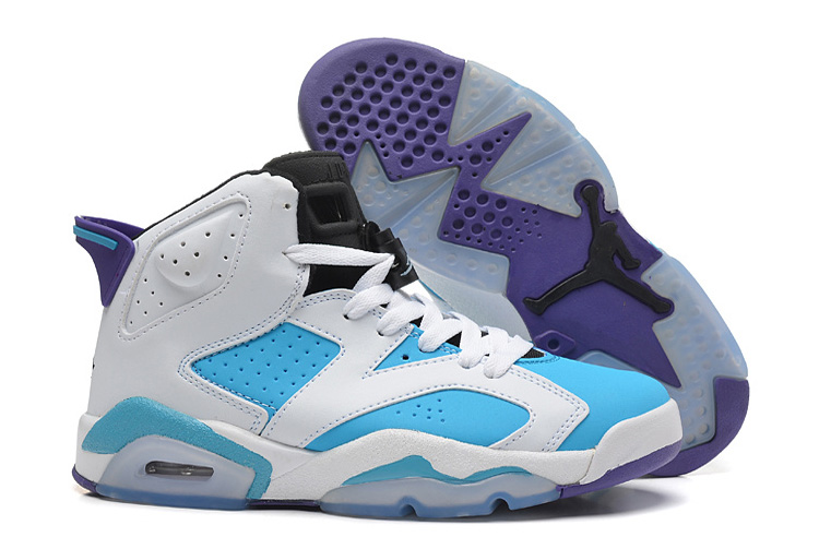 Womens New Air Jordan 6 Girls Retro White Blue Purple