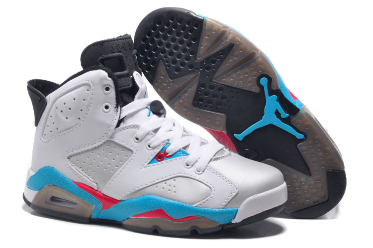 Womens New Air Jordan 6 Girls Retro White Blue Red