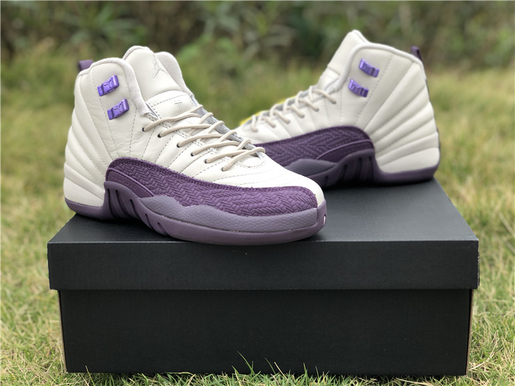 jordan 12 gs desert sand purple white girls shoes