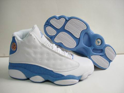 discount authentic air jordan 13 white light blue shoes