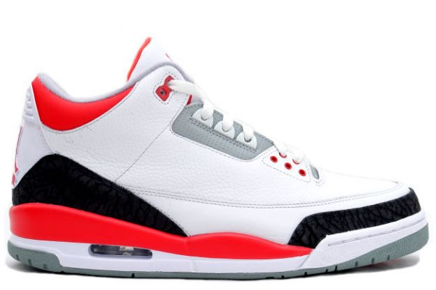 Authentic Jordan 3 White Fire Red Cement Grey Shoes