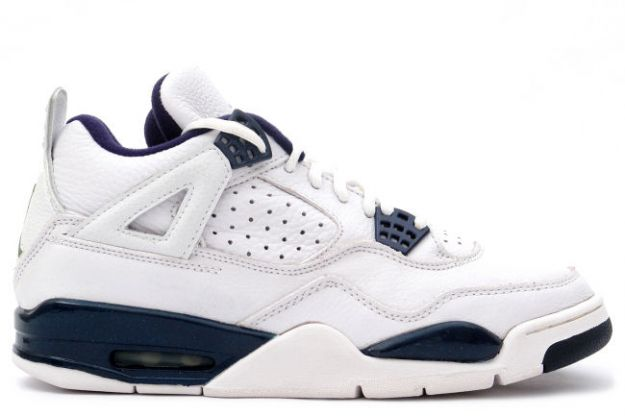 cheap authentic jordan 4 1999 white columbia blue midnight navy shoes