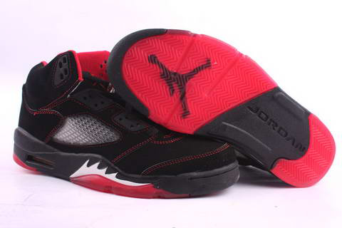 cheap and comfortable jordan 5 black red fire white shoes