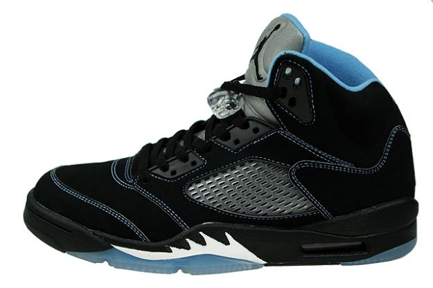 cheap and comfortable jordan 5 black university blue white shoes