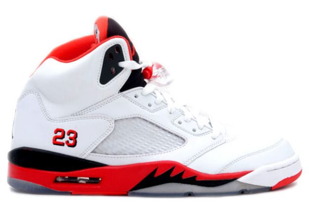 cheap and comfortable jordan 5 fire red white fire red black shoes