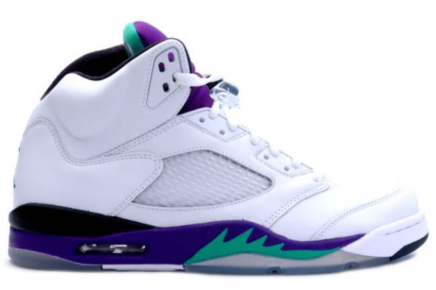 cheap and comfortable jordan 5 white grape ice new emerald shoes