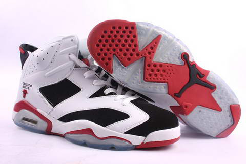 cheap air jordan 6 white black red shoes