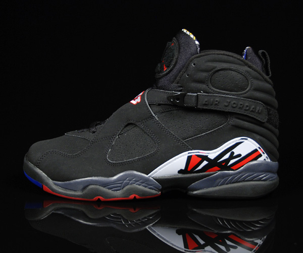 cheap real jordan 8 playoffs black varsity red white shoes