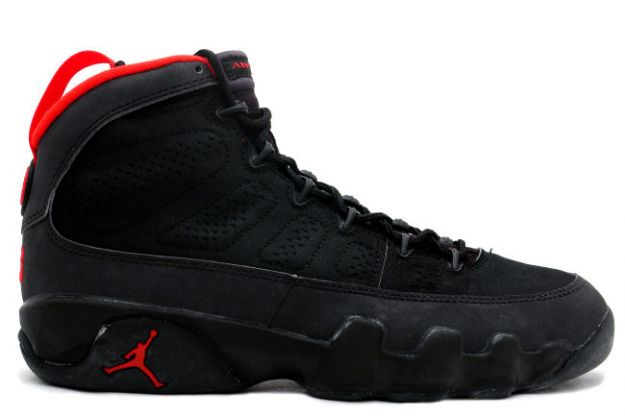 original air jordan 9 black dark charcoal true red shoes