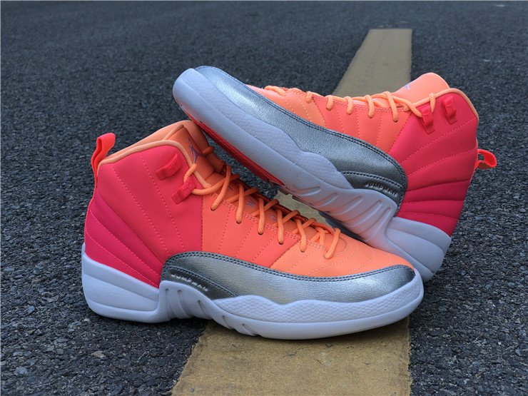 jordan 12 retro gs sunrise hot punch shoes