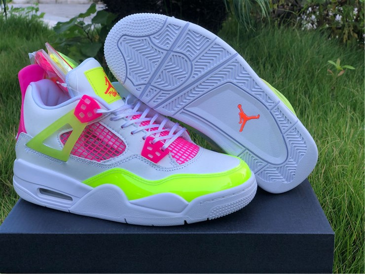 newest jordan 4 retro lemon venom pink girls shoes
